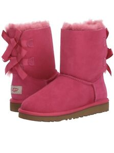 ce7b433ade9 Details about UGG AUSTRALIA BAILEY BOW CERISE HOT PINK SHEEPSKIN BOOTS SIZE  3 YOUTH~NEW