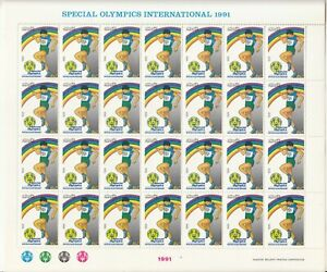1991-PAKISTAN-SPECIAL-OLYMPIC-FULL-SHEET-OF-28-STAMPS-DISABLE-HANDICAP-UMM