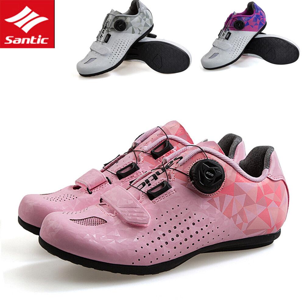 Santic Donna Strada MTB Ciclismo Scarpe biketriathlon Piatto Scarpe Sneaker Non Bloccaggio