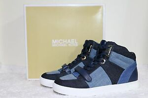 a4c4b5e32e316 MICHAEL Michael Kors Ollie High Top Denim Sneaker Women s Shoes 7.5 ...