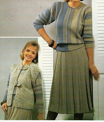 "Top 1759 Ladies Girls DK Jacket Skirt /& Hat 24-38/"" Vintage Knitting Pattern"