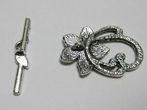 20 Sets Tibetan Silver Tone Flower Toggle Clasps 20X30mm Jewelry Finding