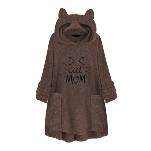 Womens Winter Fleece Hoodies Sweatshirt Hooded Jumper Pullover Loose Tunic Tops