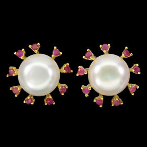 Round-Red-Ruby-2-5mm-White-Pearl-14mm-Gold-Plate-925-Sterling-Silver-Earrings