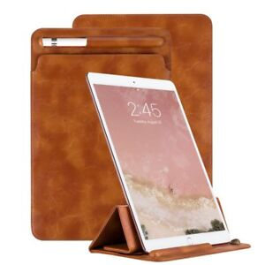 quality design e0dce 0edda Details about Apple iPad Pro 9.7 Case Sleeve With Pencil Holder Leather PU  Pouch Cover Brown