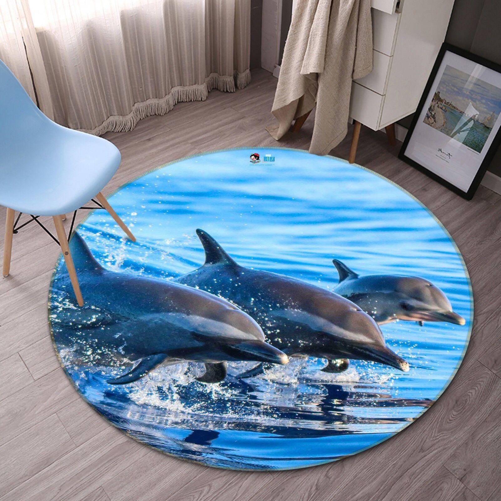 3D Three Dolphins Show 4 Non Slip Rug Rug Rug Mat Room Mat Round Elegant Photo Carpet AU 12051a