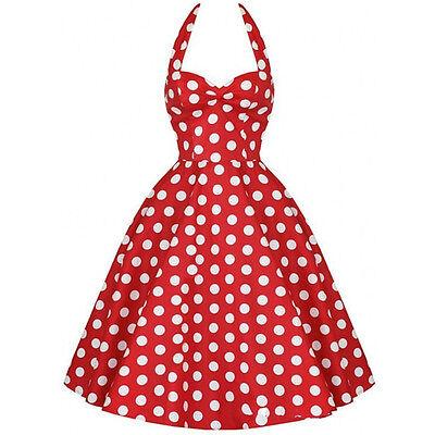 Red 60's Polka Dot Halter Dress Summer Swing Vintage Retro UK Sizes 6/8/10/12/14