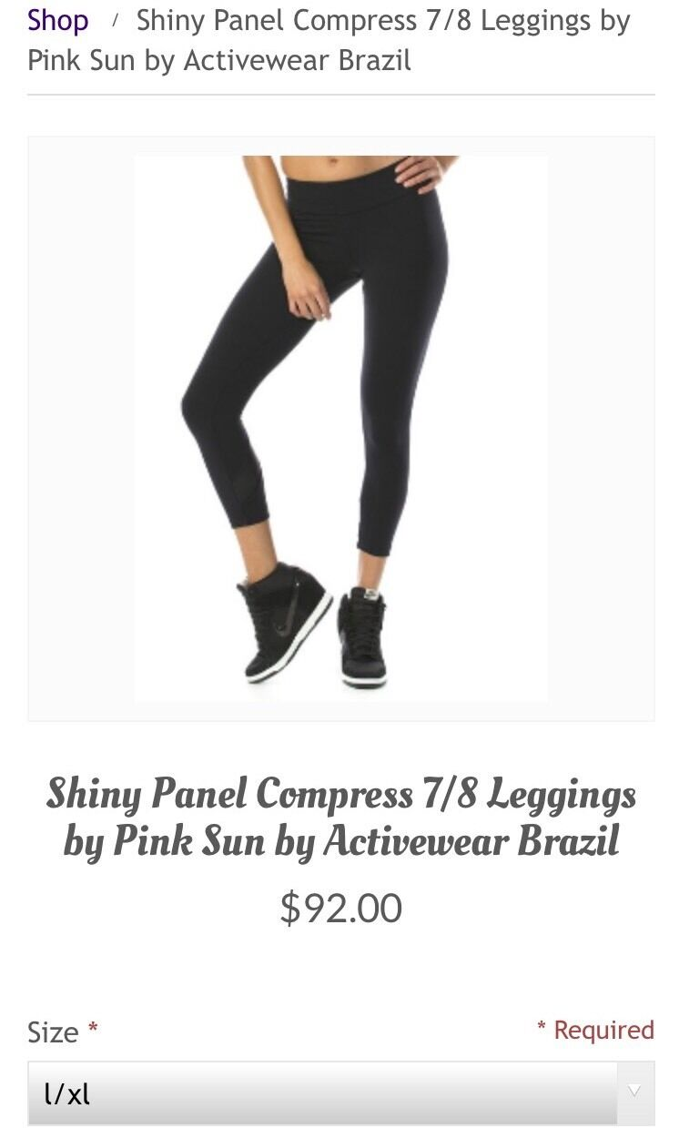 New With Tags Pink Sun Activewear Brazil Compress Capris, L XL