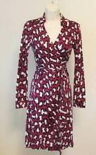 Diane von Furstenberg New Jeanne Two Spotted Cat Rouge pink wrap dress 0 leopard