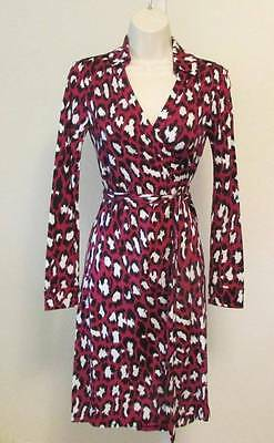 Diane von Furstenberg New Jeanne Two Spotted Cat Rouge pink wrap dress 0 leopard