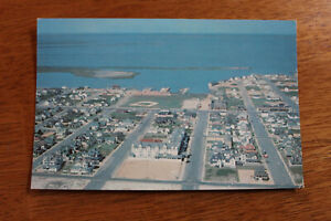 Aerial-View-BEACH-HAVEN-New-Jersey-Shore-Vintage-Barnegat-Bay-Postcard-1960