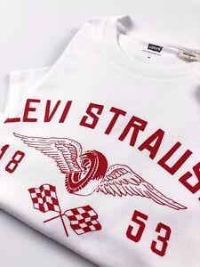 Levi-039-s-Crew-Neck-Tee-Herren-Weiss-Levi-Strauss-Biker-Logo-Regular-Fit-22491-0215