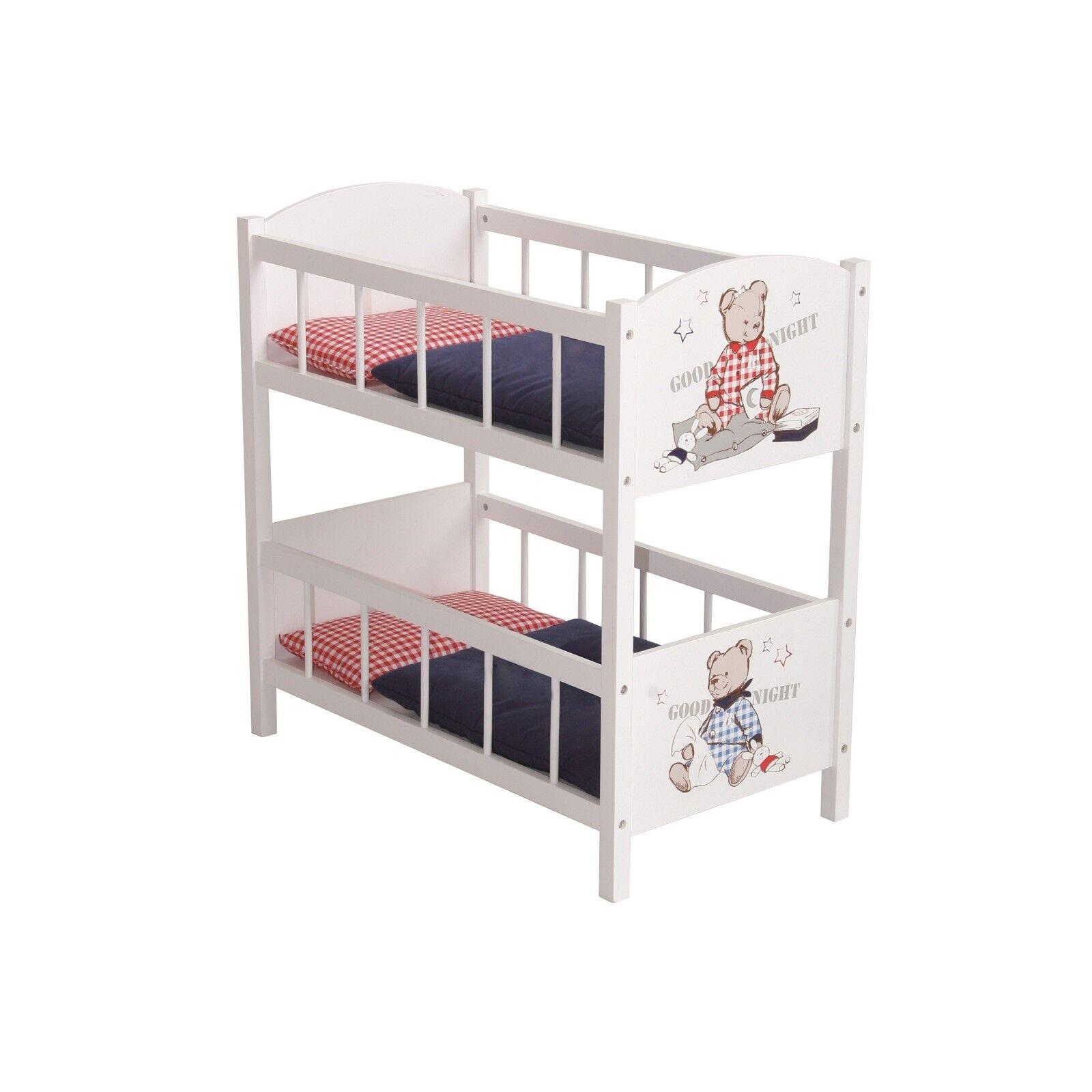 Roba bambini bambole Letto a  castello con biancheria da letto Teddy College Nuovo  il più economico