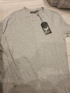 Brave-Soul-Homme-Prague-a-manches-longues-T-shirt-a-encolure-ras-du-cou-riche-coton-Casual-Tee-Top