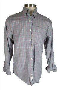 Peter Millar Mens Blue Plaid Long Sleeve Cotton Shirt L
