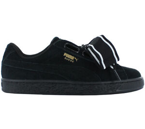 on sale 7f36c 0d18d Details about Puma Suede Heart Satin 2 Women's Sneaker Shoes Black Vikky  Basket New 364084-01