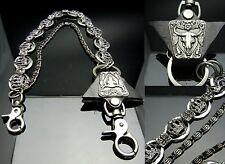 TDB158 - Buffalo Skull  2 Std Metal Jeans Wallet Key Crown Chain Biker HipHop