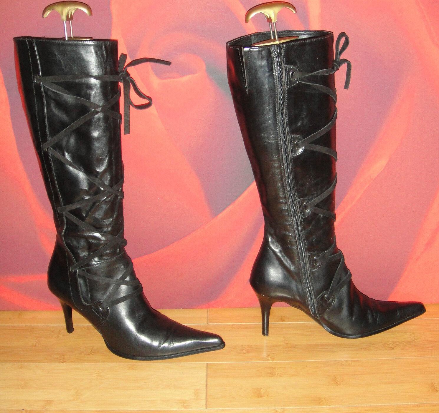 17 JR COLLECTION  Italian Black  leather  knee heel boots  EU 39