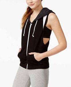 NWT-Jessica-Simpson-The-Warm-Up-Hooded-Fleece-Vest-Aphrodite-Black-Gray-Size-XL