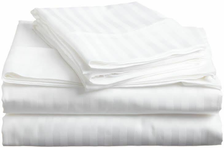 Egyptian Cotton 800 TC Bedding Items White Stripe Sheet Set Duvet Fitted Pillow