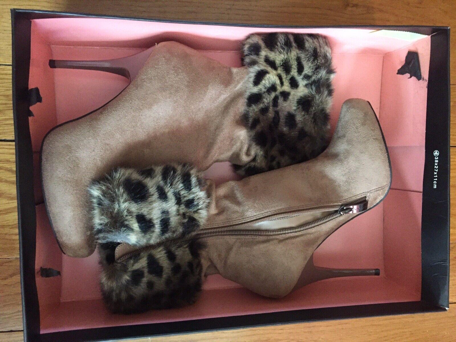 Sexy Nina by New York high heel boots 6 Leopard Tan