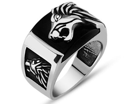 Löwenkopf 3D schwarzer Onyx Edelstein massiv 925 K Sterling Silber Herrenring