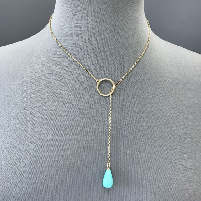 419502163 Bohemian Style Gold Thin Chain Turquoise Stone Ring Pendant Simple Necklace