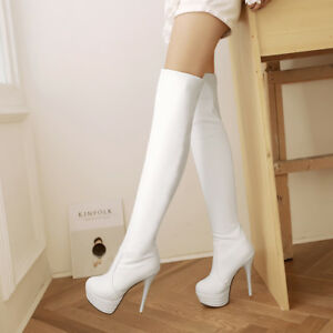 Womens-Platform-High-Heel-Synthetic-Leather-Over-Knee-Boots-Shoes-AU-Size-2-11