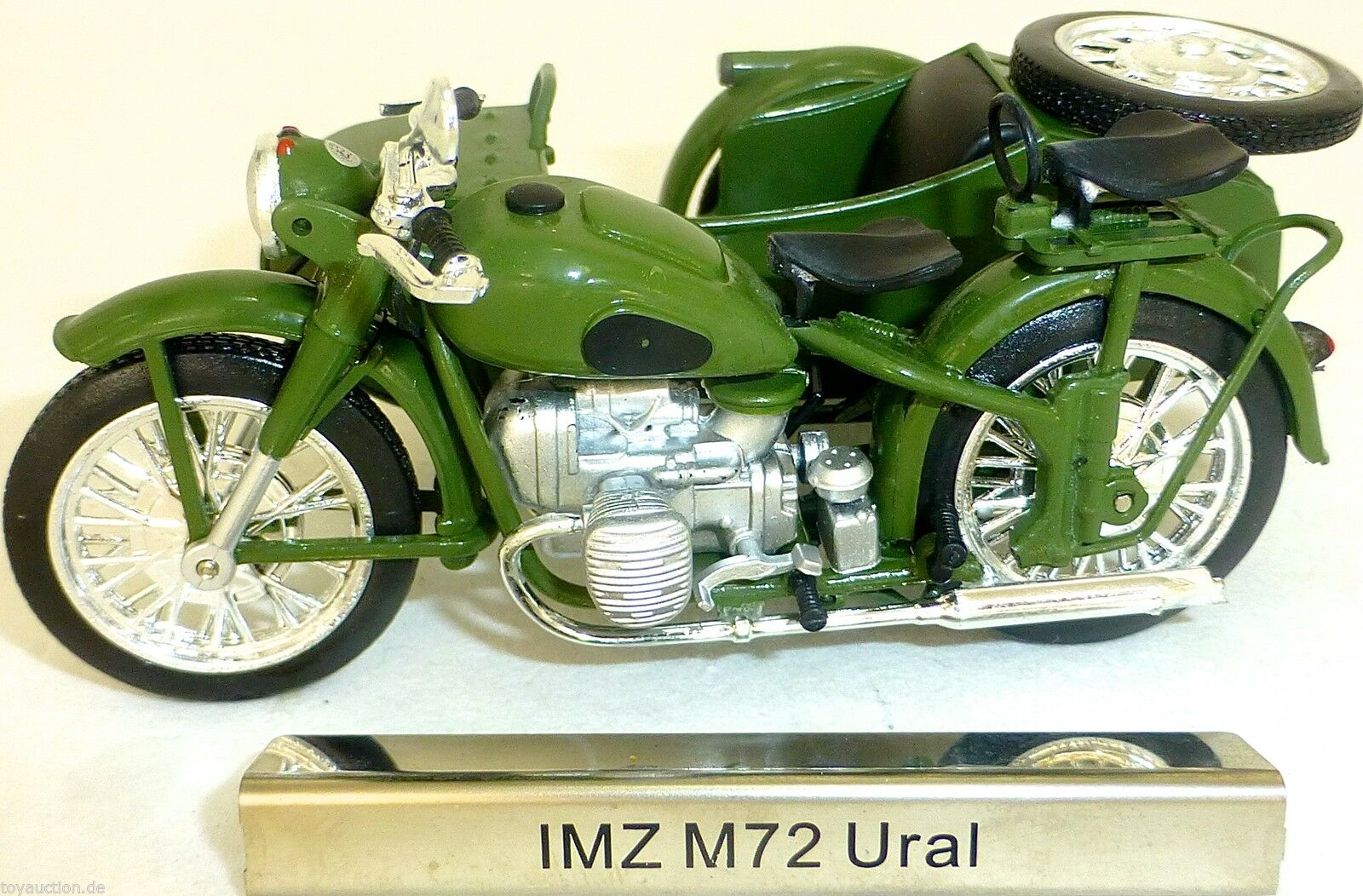 Imz M72 Ural Motorcycle Passenger Car Green GDR 1 24 Atlas 7168121 Nip LA2 Μ