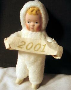 Christmas-2001-New-Year-Ornament-Pixie-Fairy-White-Elf-Snow-Baby-Angel-Ceramic