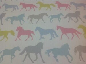 Clarke-and-Clarke-STAMPEDE-Horses-Cotton-Fabric-for-Curtain-Upholstery-SORBET