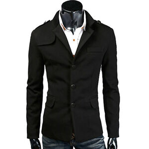 HOT NEW Men Warm Winter Coat Trench Coat Outerwear Jacket Overcoat ...