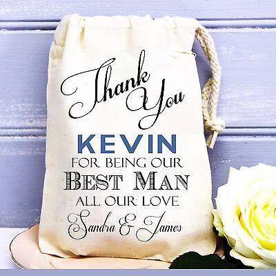 Wedding favour cotton gift bag personalised for Best Man/ Usher/ Groomsman