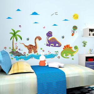 Wandtattoo-Kinderzimmer-Tiere-Dino-Sonne-Meer-Voegel-Wandsticker-gross-Dinosaurier