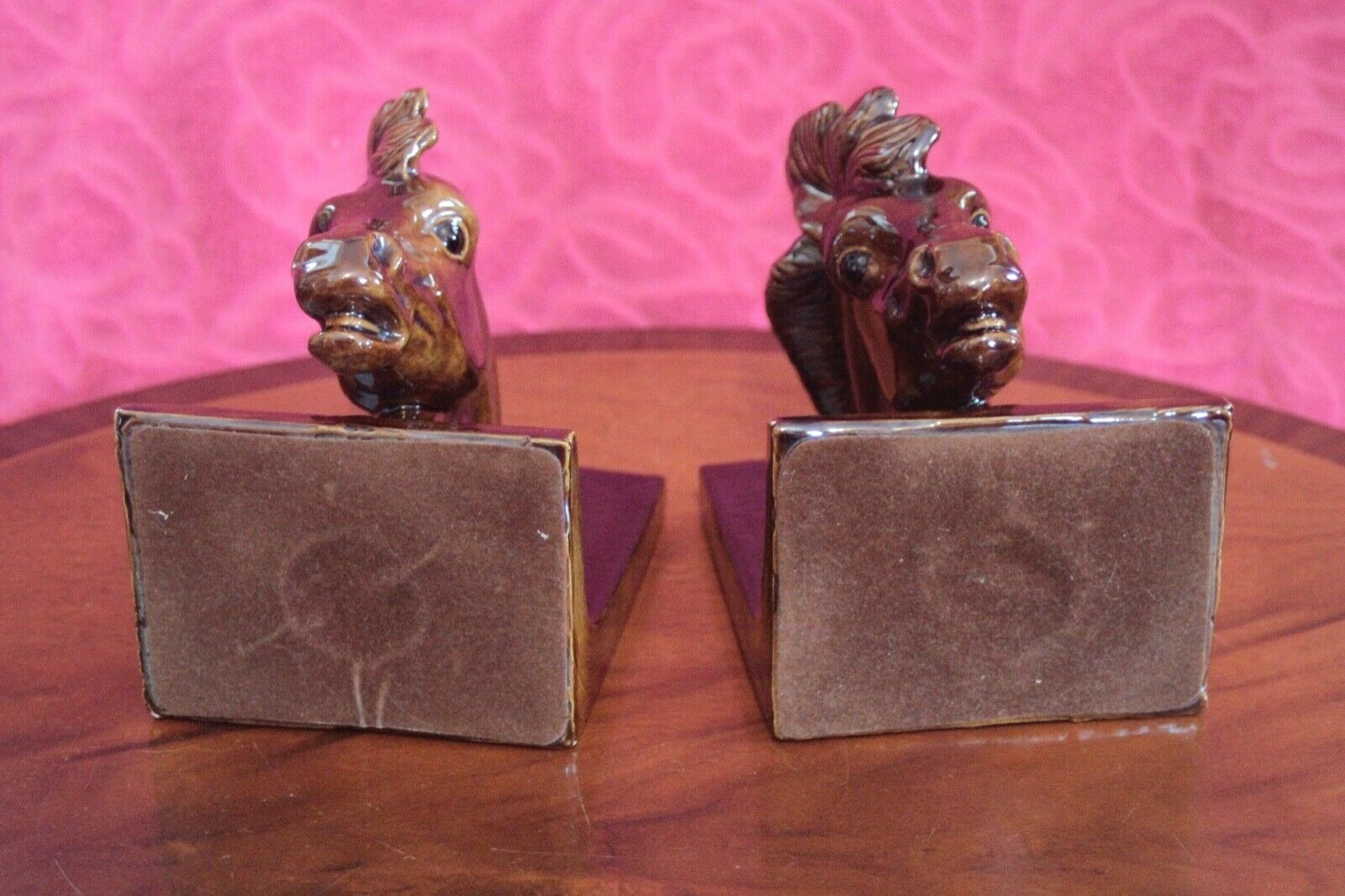 Pair Pair Pair of Vintage Porcelain Bookends in Horse Head Shape 6a68ee