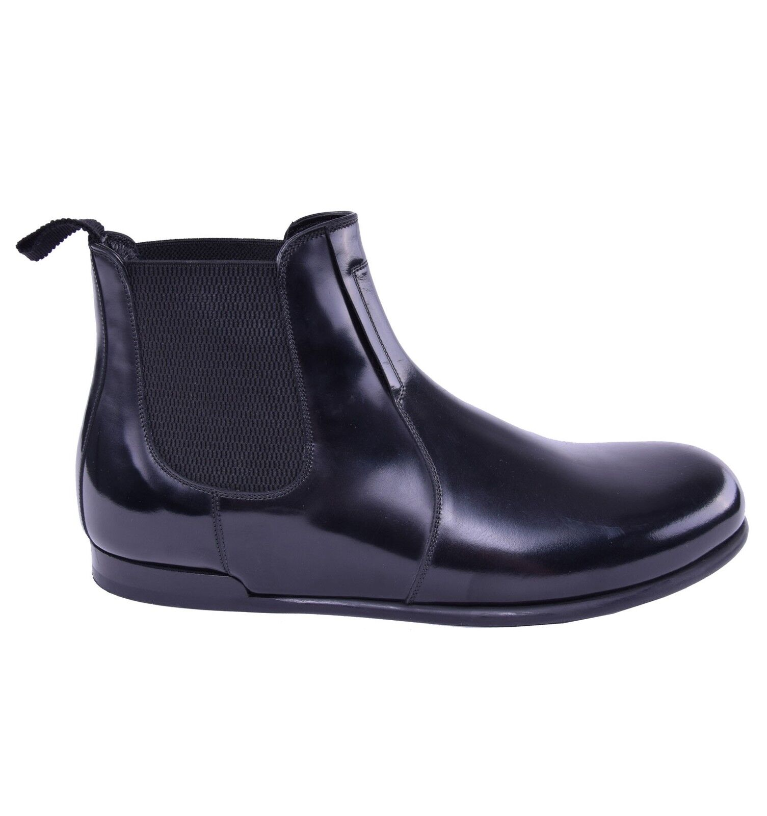 DOLCE & GABBANA RUNWAY Business Shiny Leather Boots Shoes Black 03822