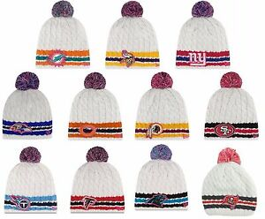 913341c52 New NFL Breast Cancer Awareness BCA Cable Knit Pom Cap Hat Beanie