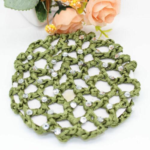 Girls Bun Cover Snood Hair Net Ballet Dance Skating Crochet/&Diamond