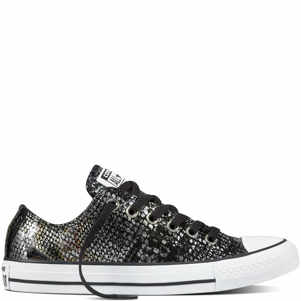 CONVERSE CTAS OX 557981C SNAKE SKIN BLK BLK WHT LEATHER TRAINERS WOMENS UK 3-7