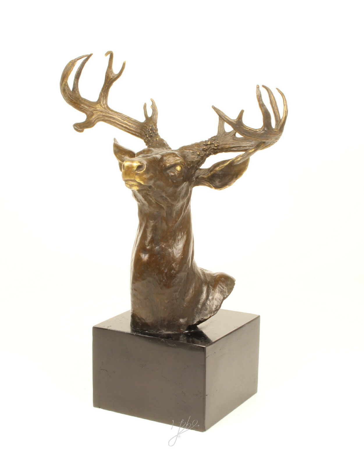 9937046-dss Bronze Skulptur Figur Büste Trophäe Hirsch H40cm