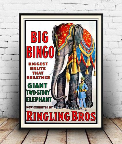 Wall art. Vintage USA Circus advertising Reproduction poster Big Bingo