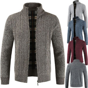 Men-039-s-Casual-Slim-Full-Zip-Thick-Knitted-Cardigan-Sweaters-Jacket-Coffe-M