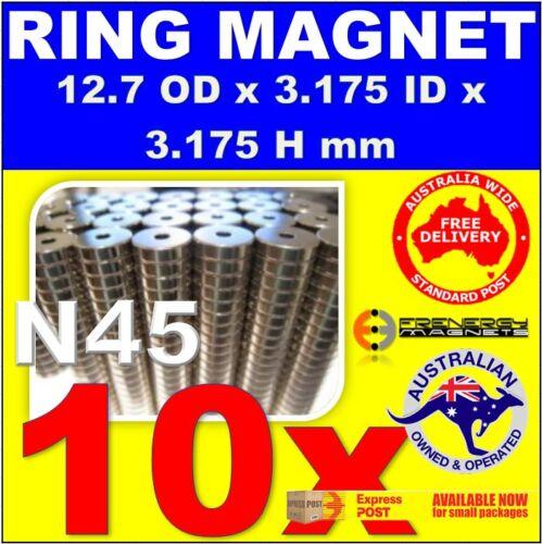 10X Ring 12.7mm x 3.175mm Hole H3.175mm N45Neodymium Disc Rare Earth Magnets