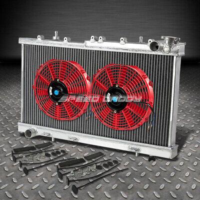 "2-ROW ALUMINUM RADIATOR+2X 10/""FAN BLACK FOR 91-99 SENTRA SE//SE-R B13//B14 SR20 MT"