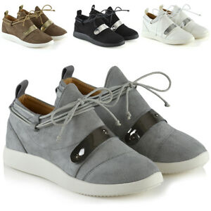 Womens-Casual-Sneakers-Lace-Up-Flat-Wedge-Ladies-Slip-On-Fashion-Trainers-Shoes