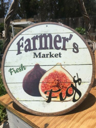 Farmers Market Fresh Figs Round Sign Tin Vintage Garage Bar Decor Old Rustic