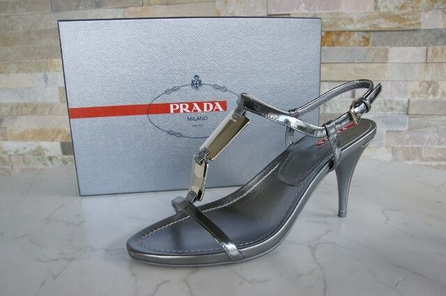 PRADA Gr 40 T-Strap Sandaletten Sandales Schuhe schuhe grau steel NEU