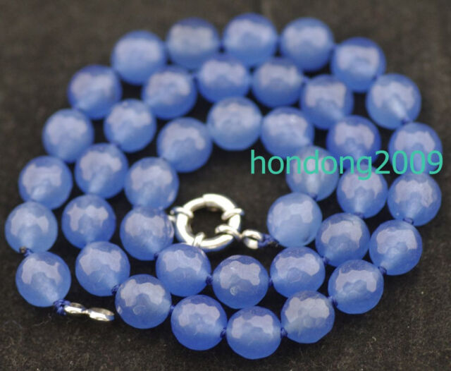 """10mm faceted Rare Blue South America Topaz Necklace 18"""""""