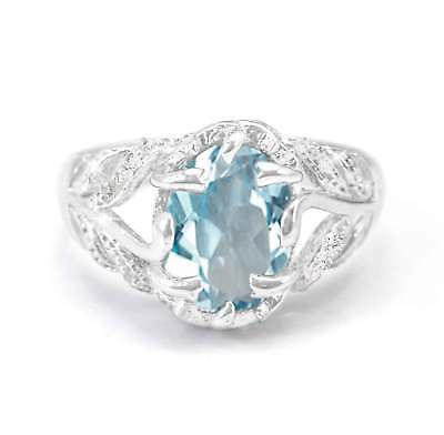 925 Sterling Silver Ring Blue Sapphire Natural Cocktail Gemstone Size 5-11