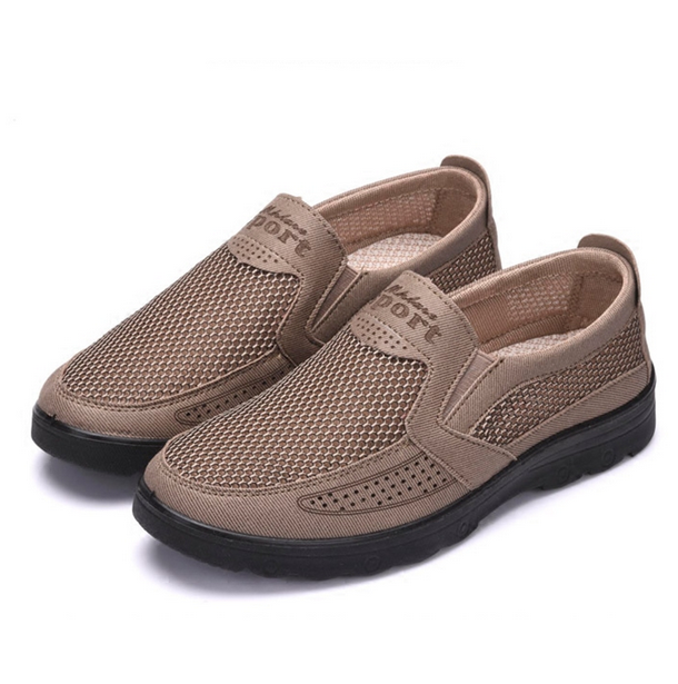 Mens Casual Mesh Sneakers Slip On Loafers Breathable shoes Summer Sandals Soft